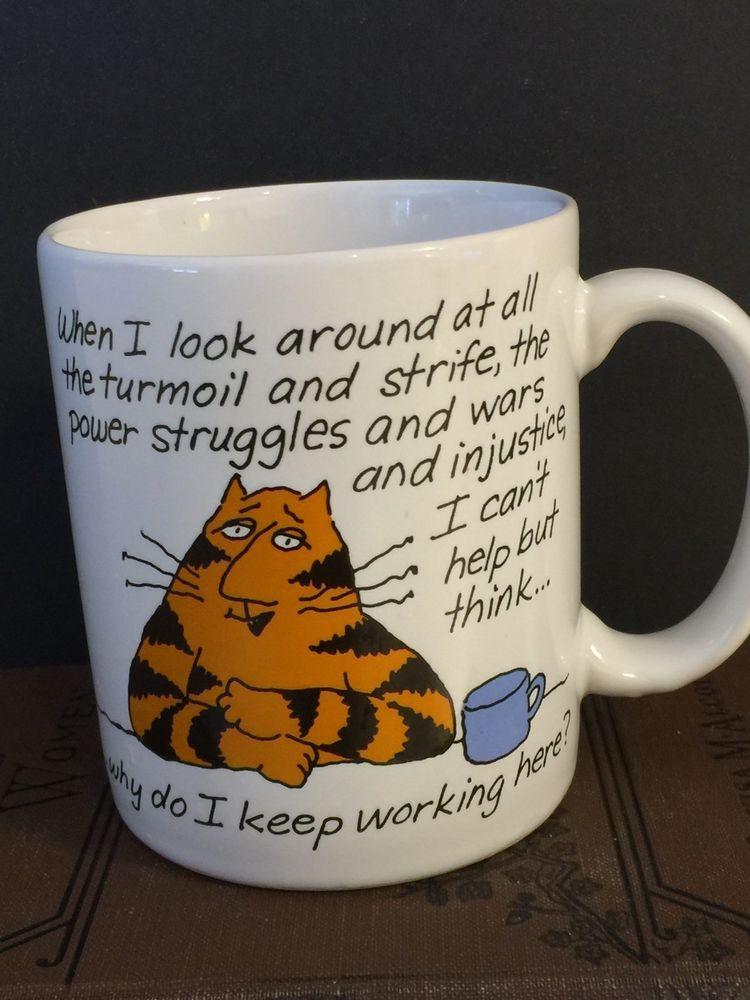 Vintage Cat Mug Office Humor Shoebox Greetings 1986 Work