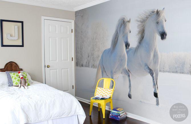 Accessoires Slaapkamer Kind : Fotobehang paarden slaapkamer kids slaapkamer