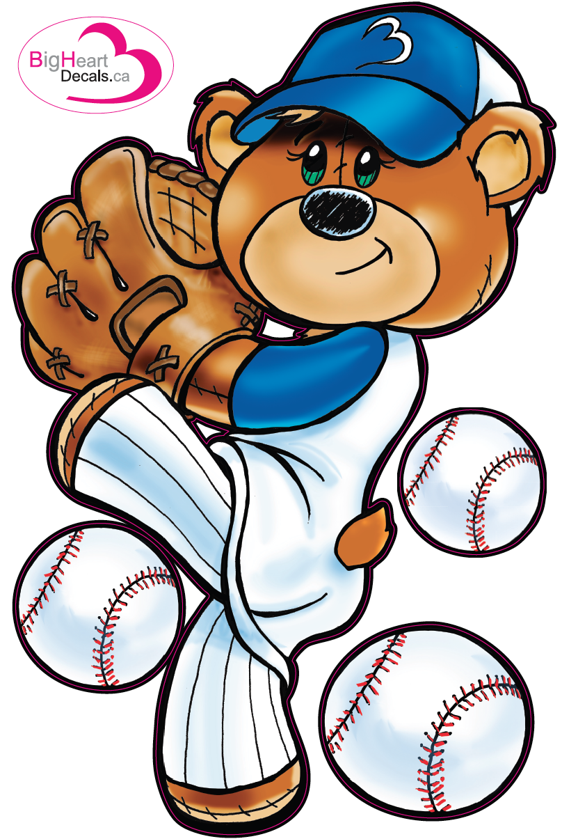 Baseball Bear 5 From Big Heart Decals Inc Made In Canada Fabric Stickers Or Wall For Nursery Kids Playrooms Sticks On Walls Windows And Flat