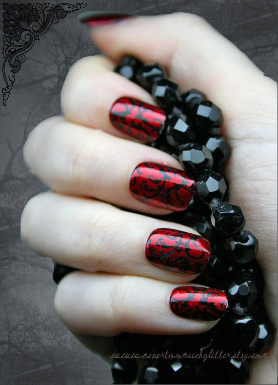 Japanese Nail Art Red Gothic Baroque Press by Nevertoomuchglitter