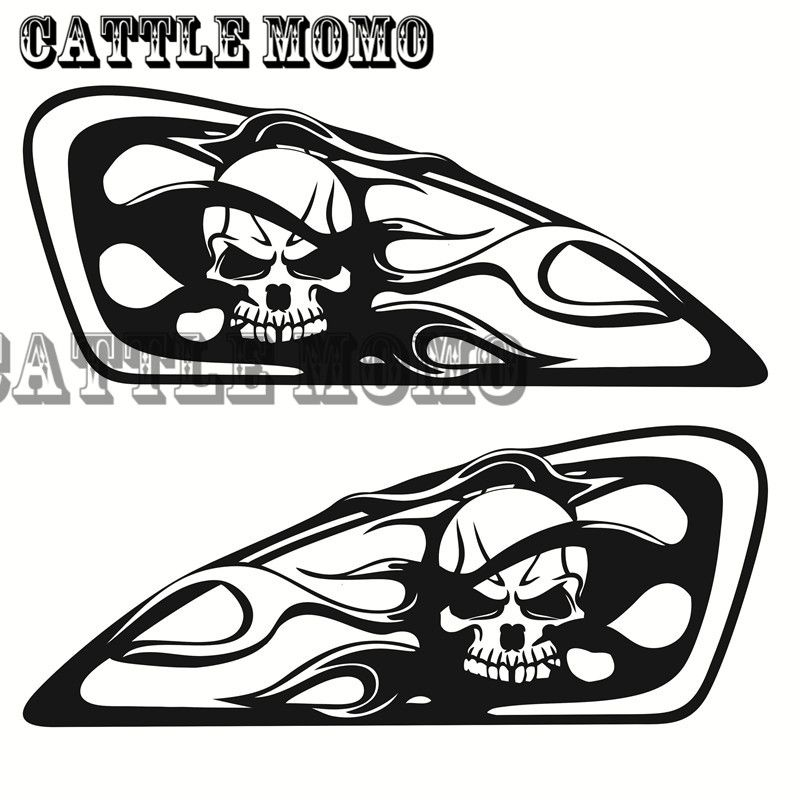 motorcycle skull flame design tank decal sticker for