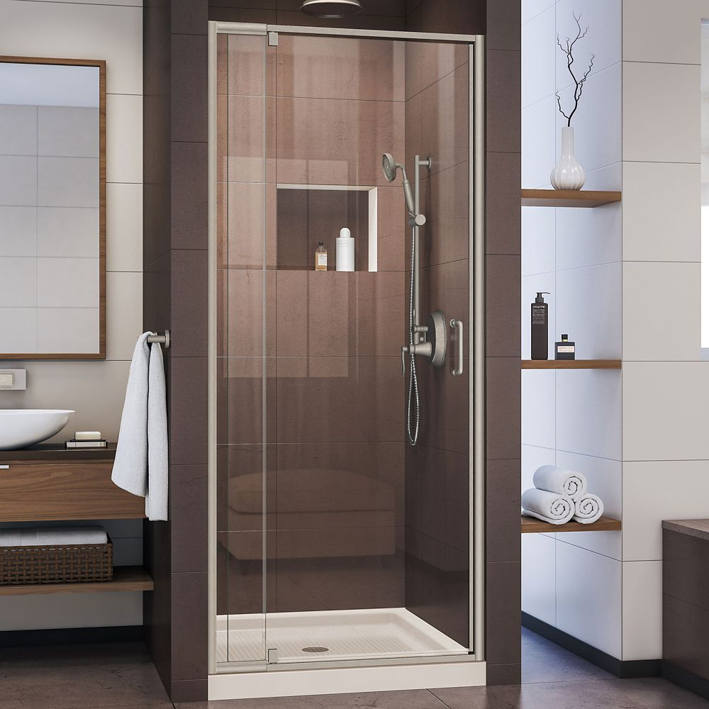 Flex 32 Inch D X 32 Inch W Pivot Shower Door In Brushed Nickel And Center Drain Biscuit Base Shower Doors Frameless Shower Doors Framed Shower Door