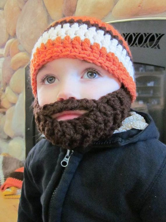 Kids ULTIMATE Bearded Beanie Orange Mix | Jungen, Bärte und Häkeln Bart