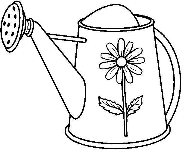 Garden Watering Can Bw Jpg 608 504 Watering Can Pattern