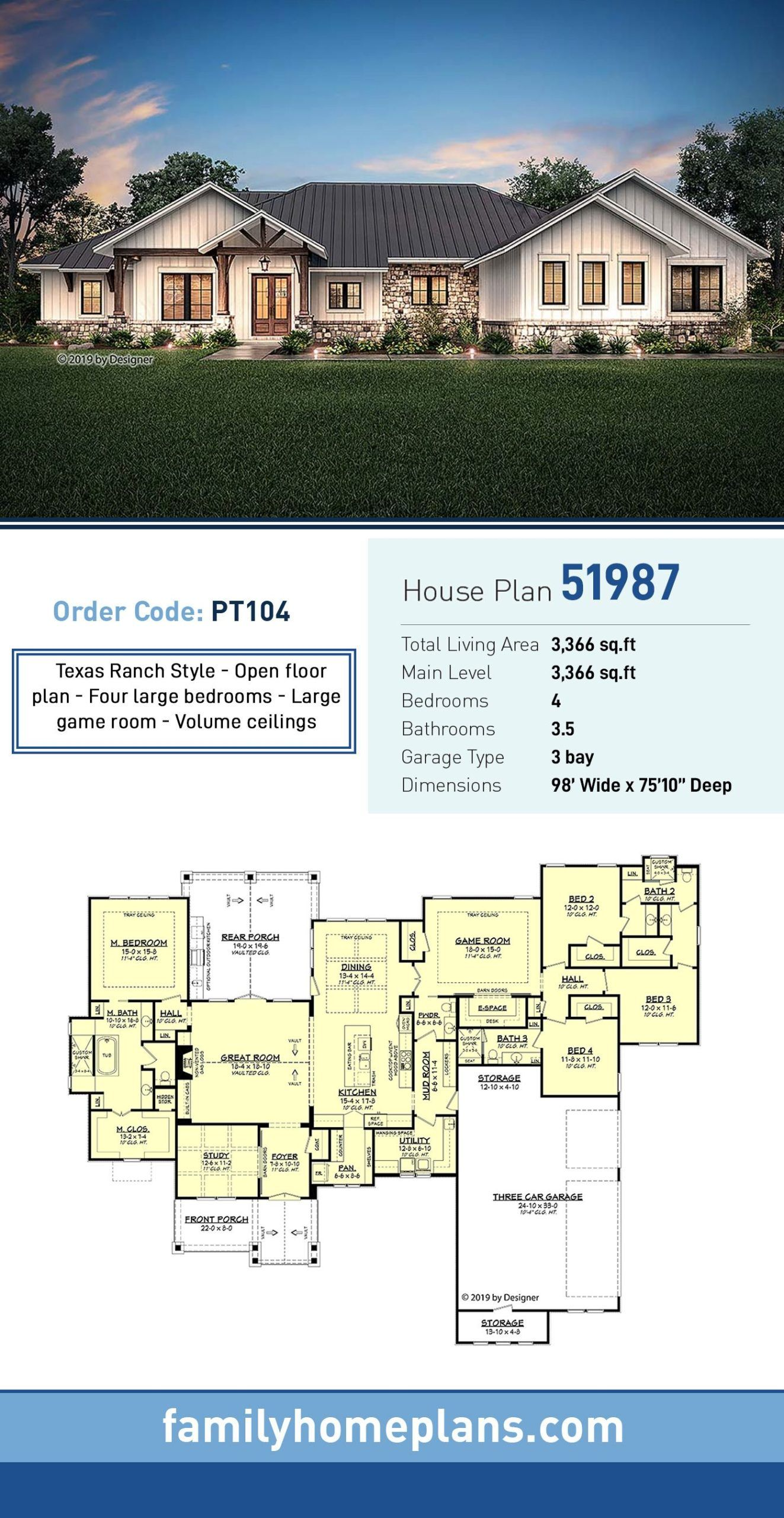 Ranch Style House Plan 51987 with 4 Bed 4 Bath 3 Car Garage