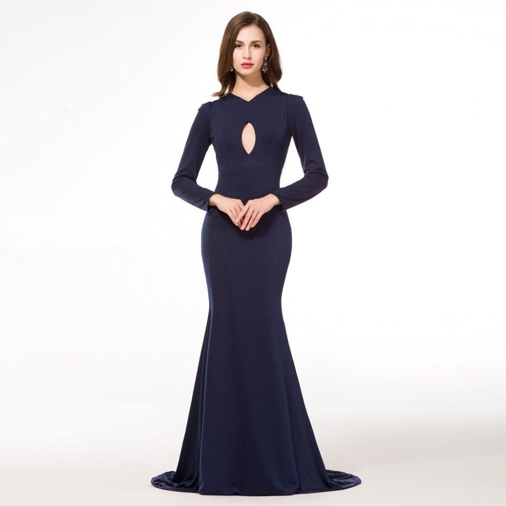 Robe oriental arabe navy blue evening dresses long sleeve arabic