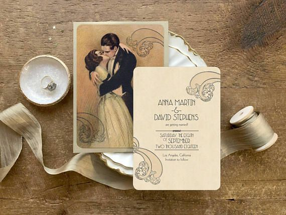 SAVE THE DATE CARDS This listing is for one set of vintage inspired save the date cards. I am calling this set of vintage-inspired invitations Intermezzo because it reminds me of the movie with Ingrid Bergman and Leslie Howard. Just how romantic and elegant this couple is! The back side of