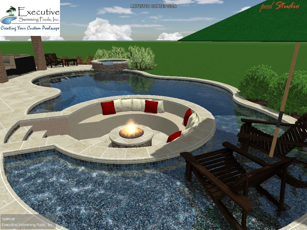 Custom pool design sunken seating area with fire pit for Custom swimming pool designs