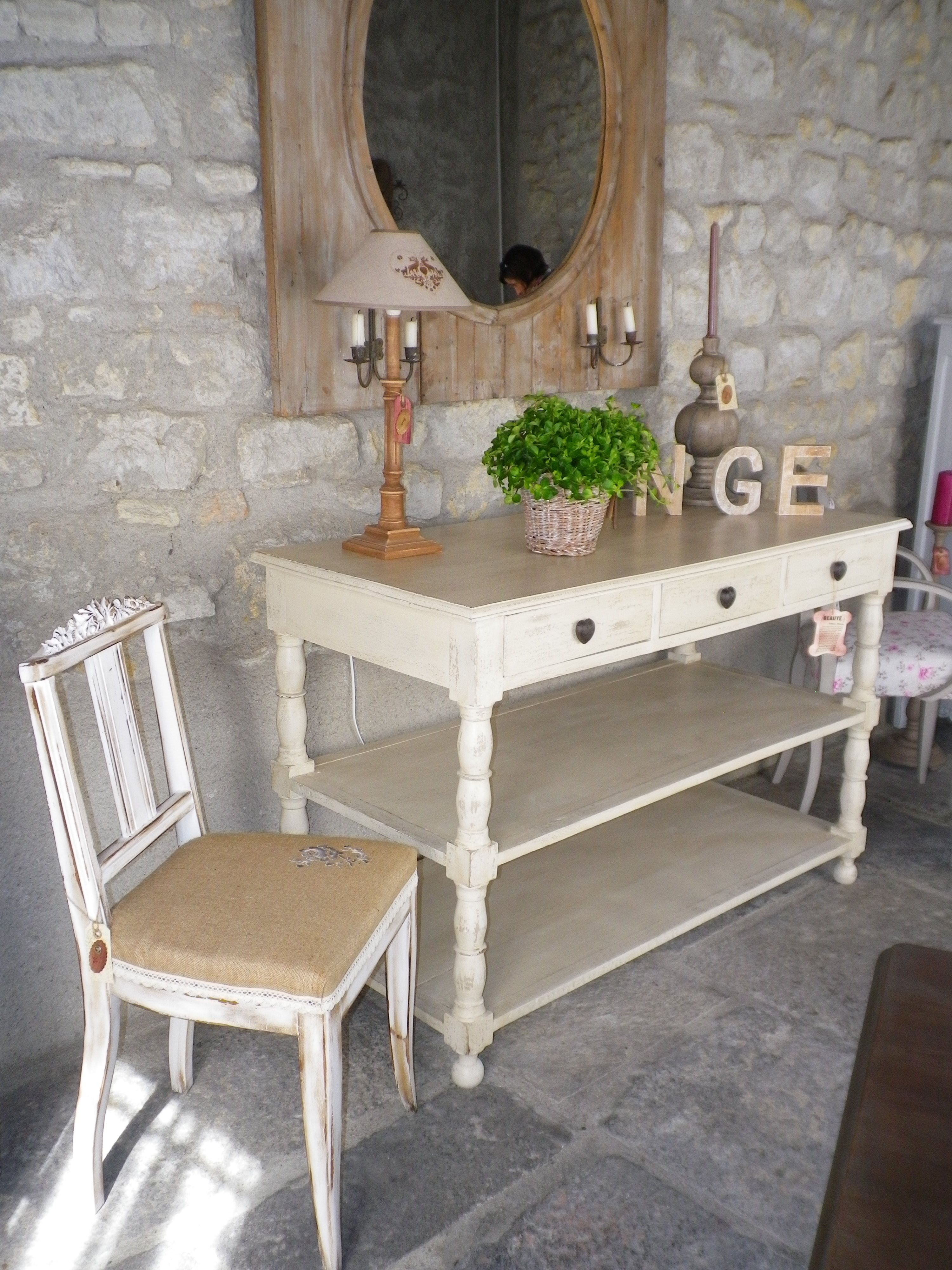 charme console beige craft with paper cork pebbles. Black Bedroom Furniture Sets. Home Design Ideas