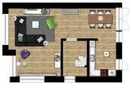 grote grijze bank in u-vorm op plattegrond in woonkamer - Google ...