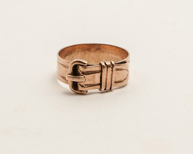 Victorian 10K Rose Gold Buckle Ring