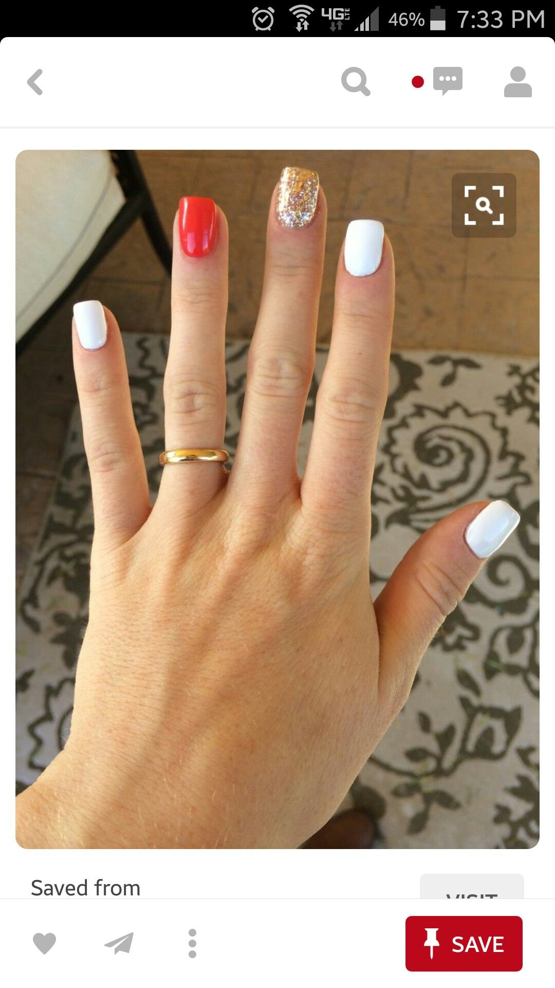 White nails with color accent! | Fingers & Toes | Pinterest | Make ...