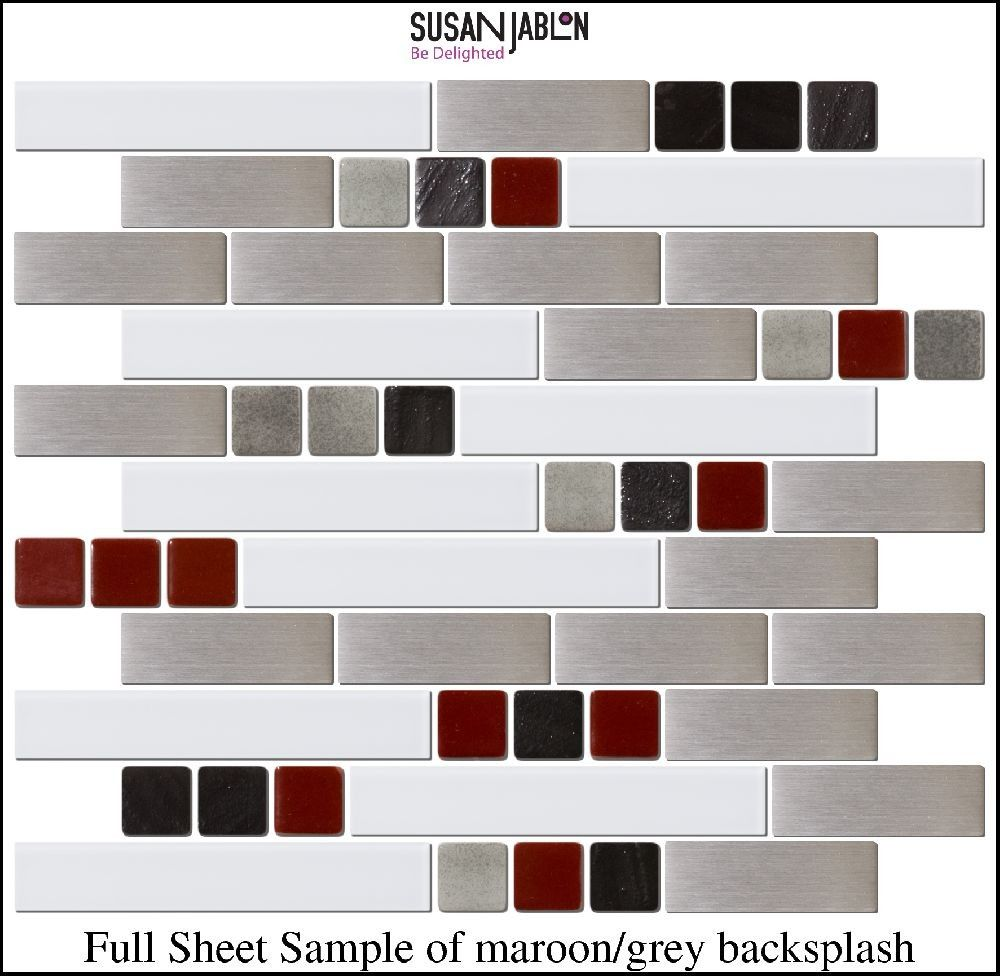 Full Sheet Sample Of Maroon Grey Backsplash Grey Backsplash