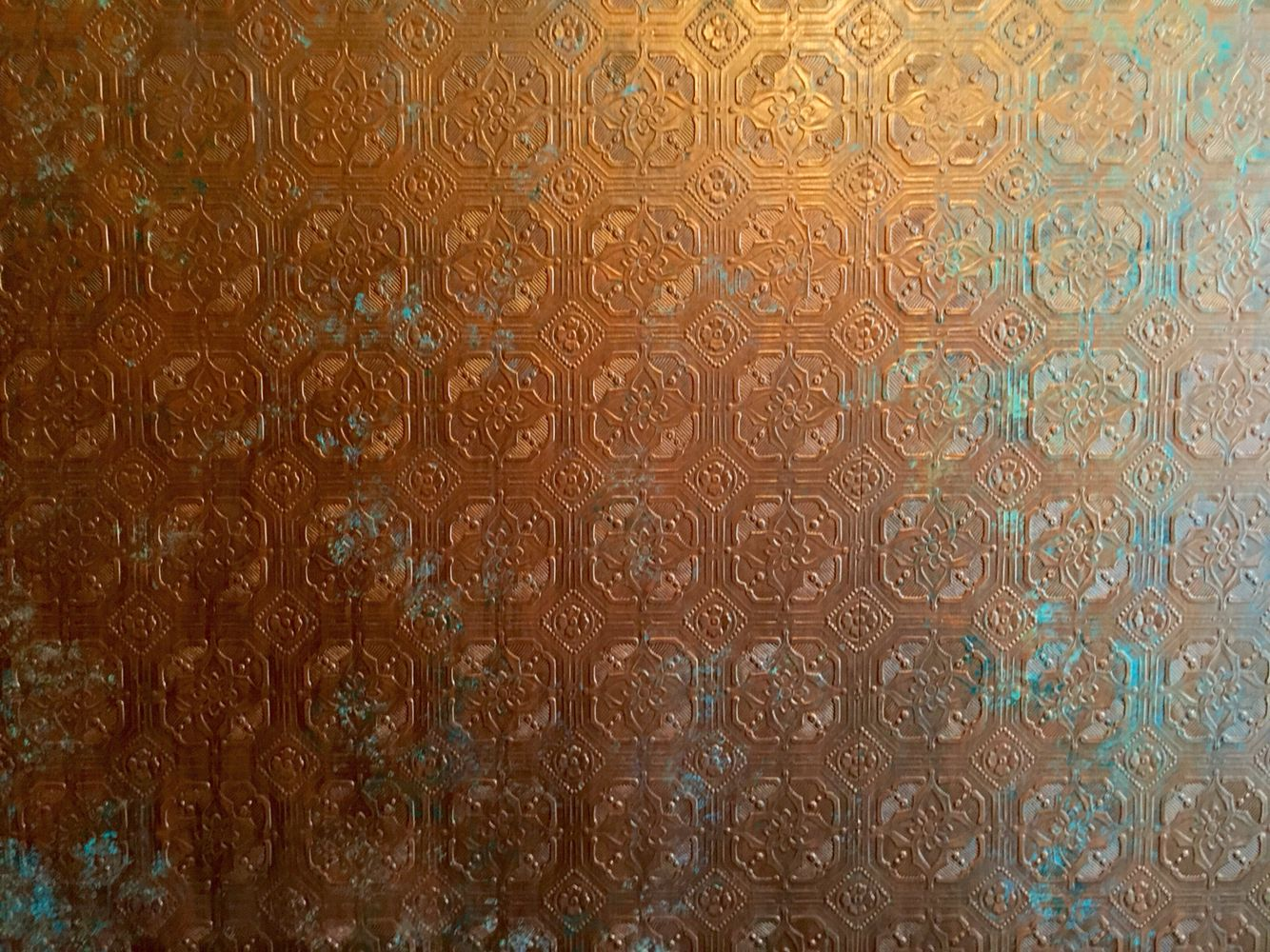 Anaglypta Wallpaper Painted To Resemble Copper With A