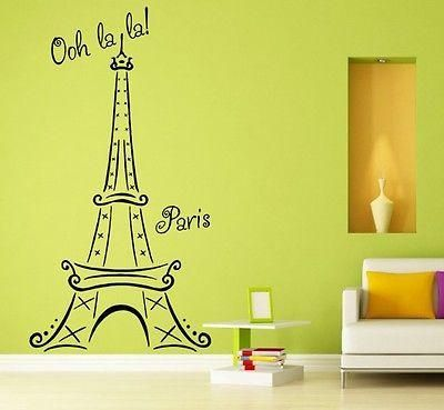 Eiffel Tower Paris Wall Decal Vinyl Art Decor Sticker with Words ...