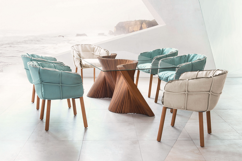 Wave Table Parchment Chairs Designed By Kenneth