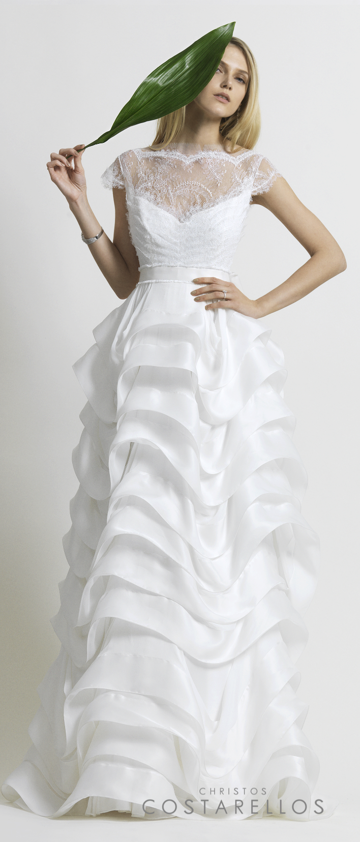 Christos Costarellos Bridal 2014 collection. A wedding dress with silk muslin, silk organza and chantilly lace. Code: BR14 02. For stockists please visit www.costarellos.com #christoscostarellos #costarellos #costarellosbride #bridaldress #bridalgown #weddingdress #weddinggown #lace #bridetobe #bridalmarket #bridalfashion #wedding