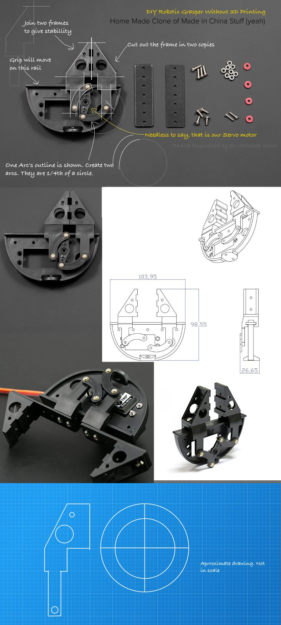 Diy Robotic Grasper For Servo Motor Arduino Technology Makeblock Inventor Kit Add On Six Legged Robot We Were Talking About The Company Found Which Has Various Grips That One Such Grip Is Sold At 20 Dollar In Website