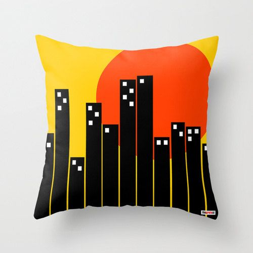 The city Decorative throw pillow cover  Geometric by thegretest, $55.00