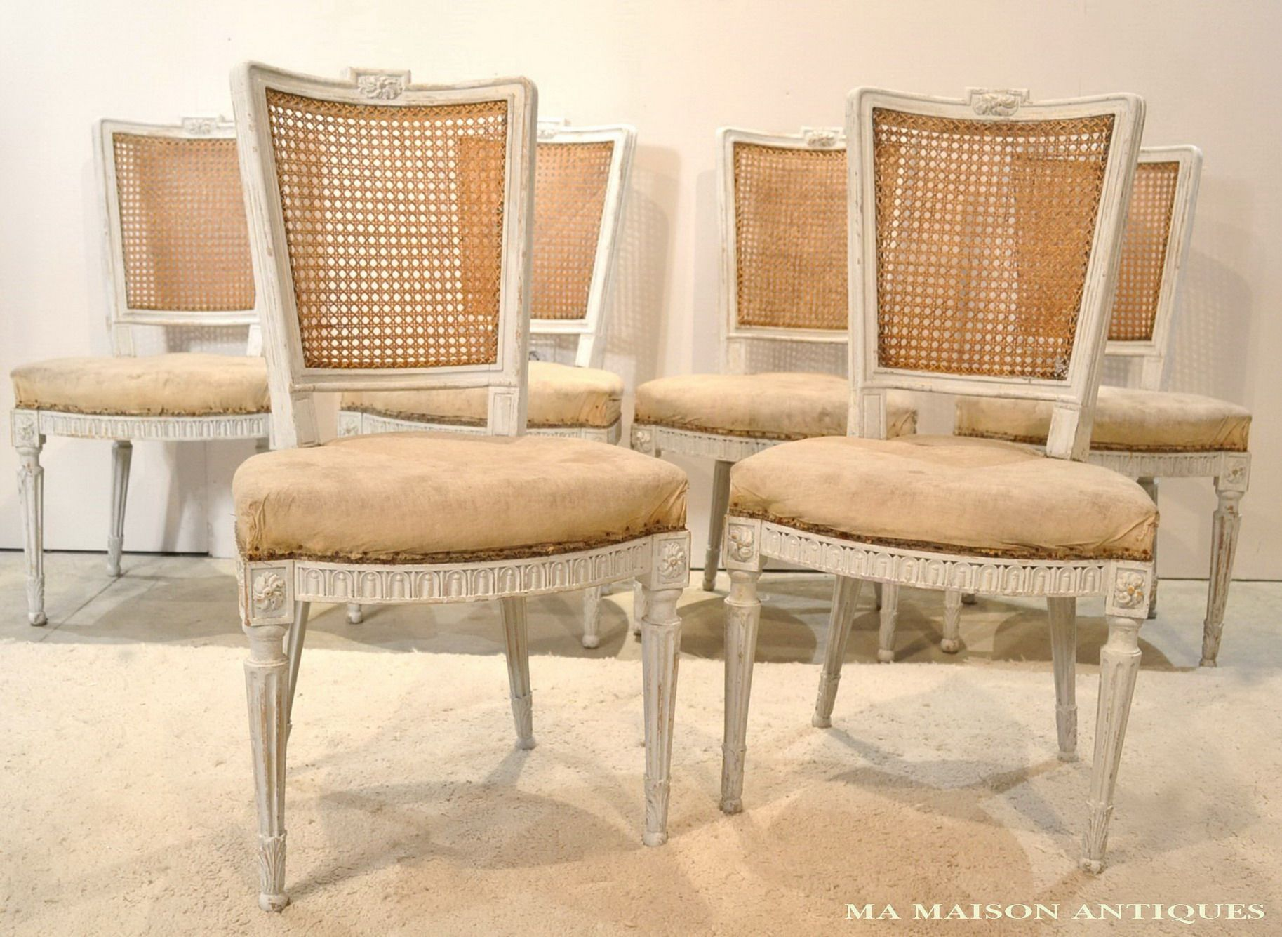 Set of 6 Louis XVI Style Dining chairs, French, Circa 1890