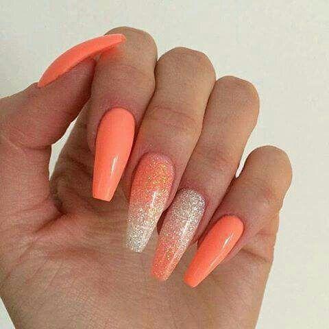 Nail And Orange Image Holiday Acrylic Nails Coral Acrylic Nails