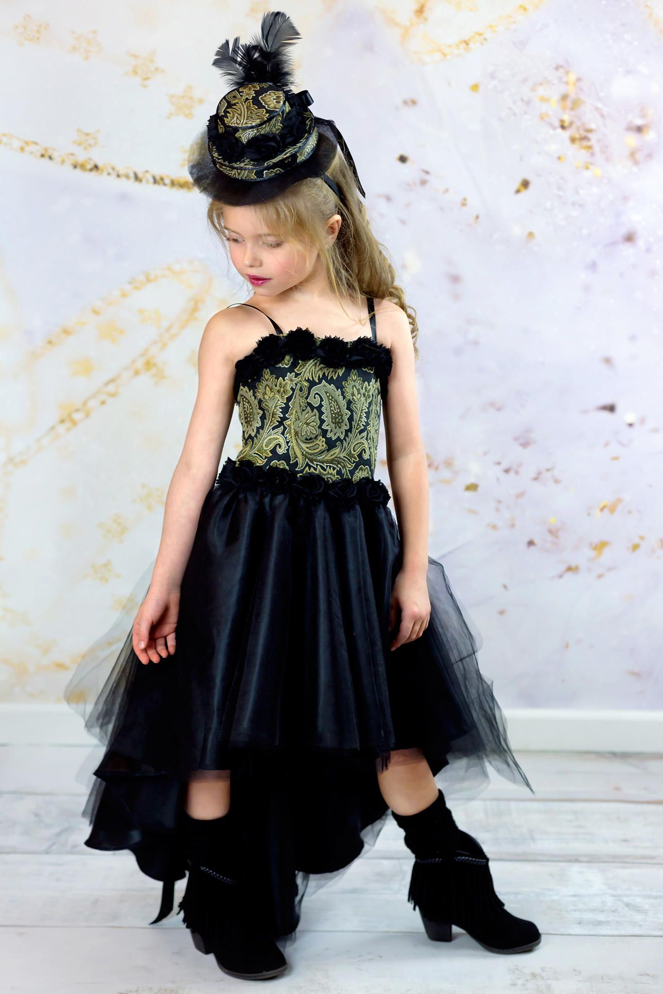 00c19ecf60c8 Black and Gold Corset Dress for Girls in sizes 3 Toddler to 10 Years ...