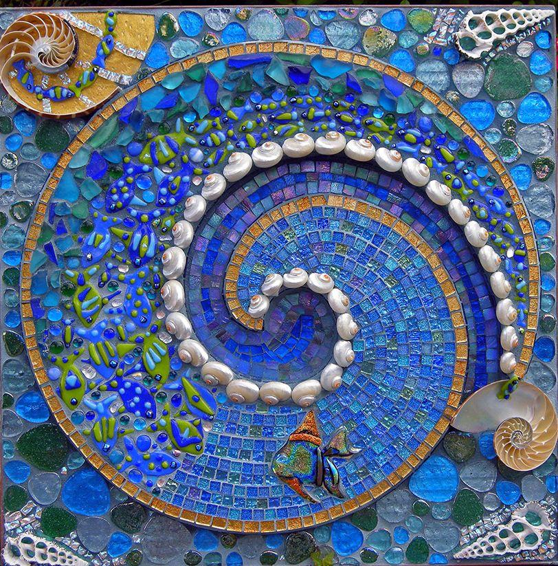 Camden swirl carrie a bracker mosaic art sea glass