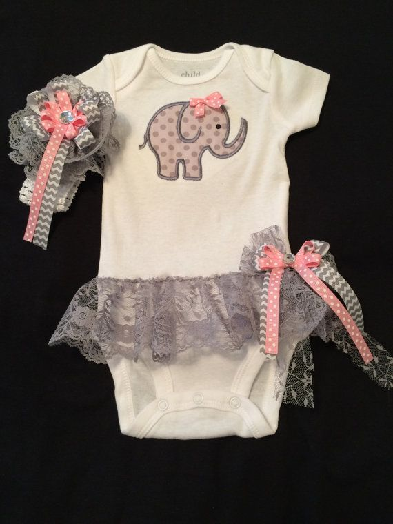 67ba34ca183 Baby Girl s Appliqued Elephant Onesie with Attached Lace Ruffle Skirt.  Skirt has a Detachable Matching Bow. Matching Headband. 0-18 Months on  Etsy