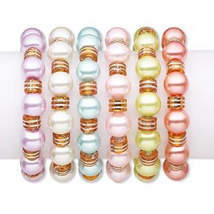 Bracelet, stretch, glass pearl and acrylic, assorted colors, 12mm round, 7 inches. Sold per pkg of 6.