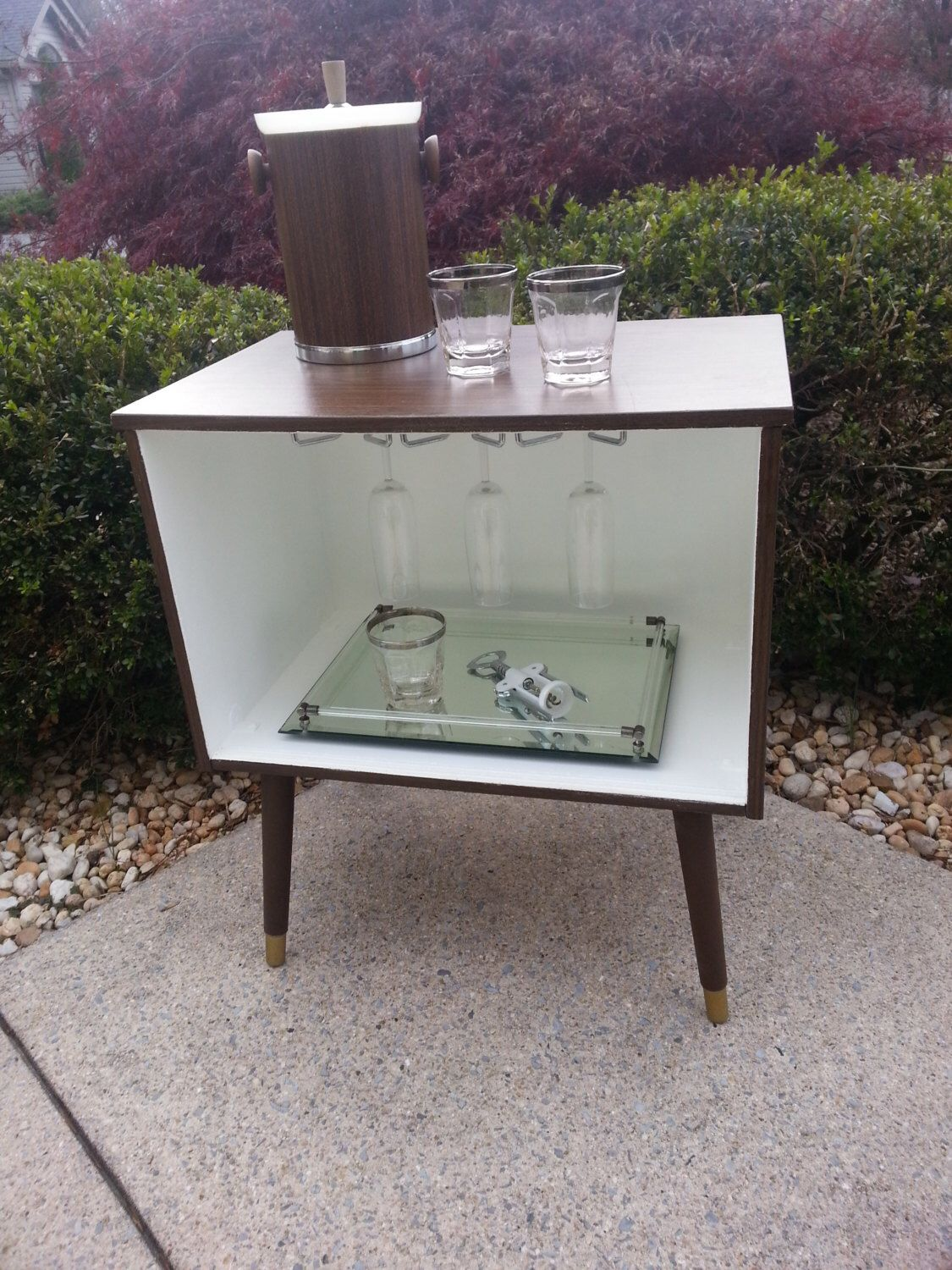 Upcycled Bar Server Cabinet Mid Century Modern Walnut And White Atomic  Retro Furniture Decor By HOUSEOFMINTAGE