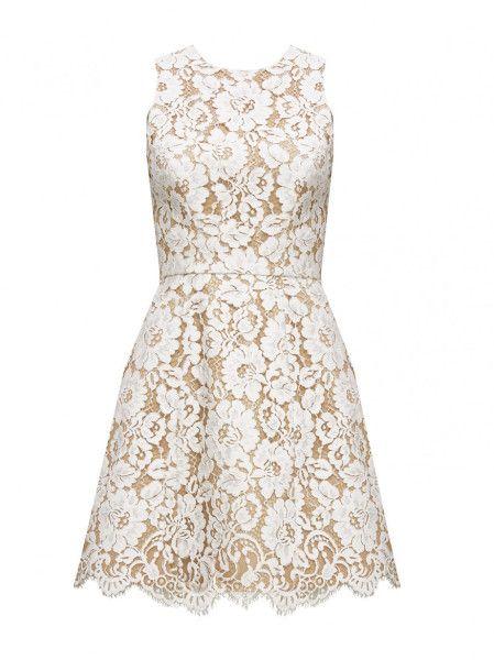 Alice + Olivia Leann Sleeveless Bell Dress in White (IVORY/TAN)