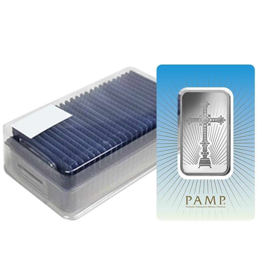 Box Of 25 1 Oz Pamp Suisse Silver Bar Romanesque Cross In Assay 999 Fine Silver Bars Five Bar Bar