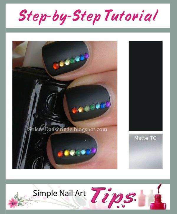 SIMPLE TUTORIAL: SimpleNailArtTips.com: Rainbow Rhinestones on Black ...