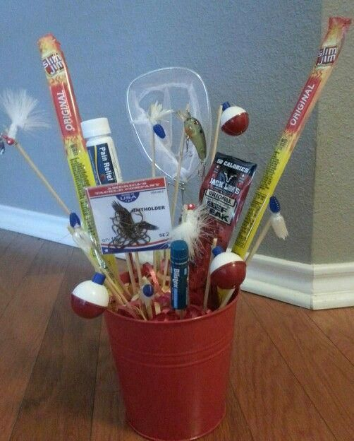 Man gift basket/ man bouquet/ fishing gift | Gift baskets ...