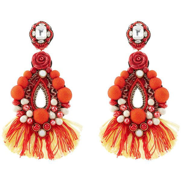 Ranjana Khan Red Drop Beaded Clip On Earrings 925 Brl Liked Polyvore Featuring Jewelry Clear Stud
