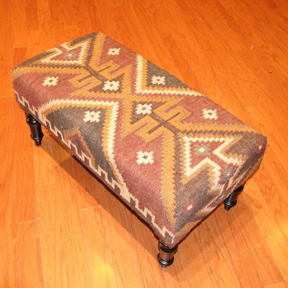 Handmade Kilim Dark Sheesham Wooden Leg Bench (India)   Overstock.com