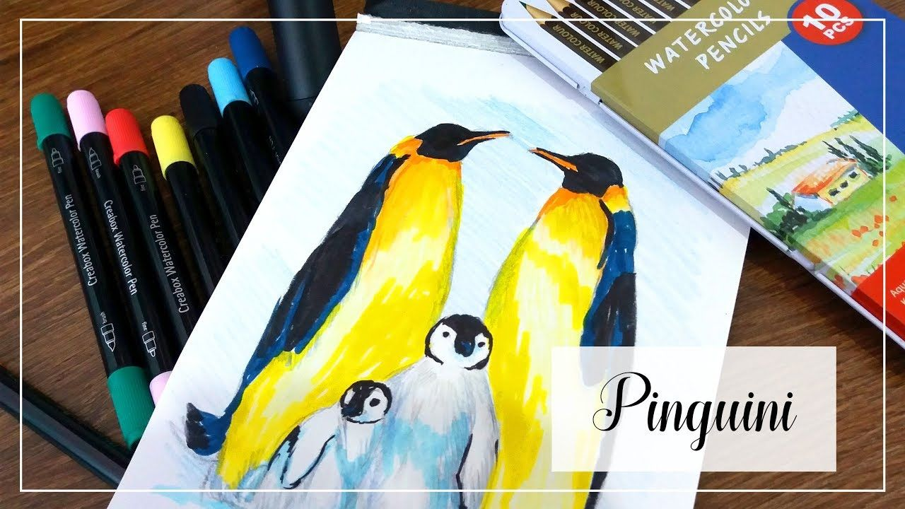 Penguins Drawing With Colored Pencils And Markers Penguin