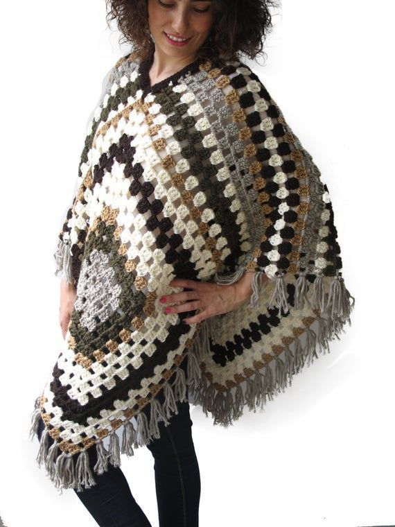 Afghan Granny Square Crochet Poncho Plus Size Over Size by image 1 #grannysquareponcho