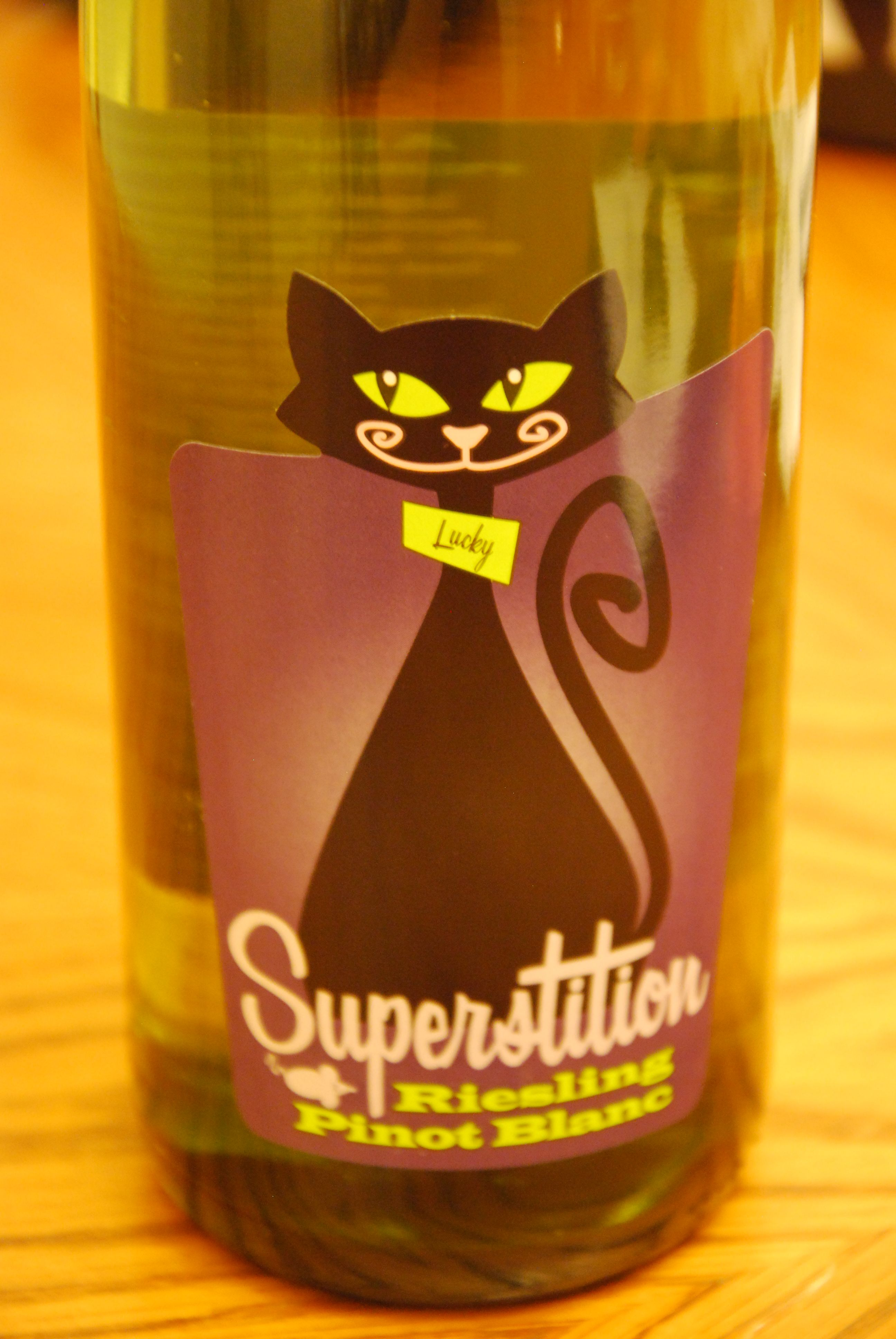 Superstition Riesling Pinot Blanc Wine Black Cat Lucky On Bottle
