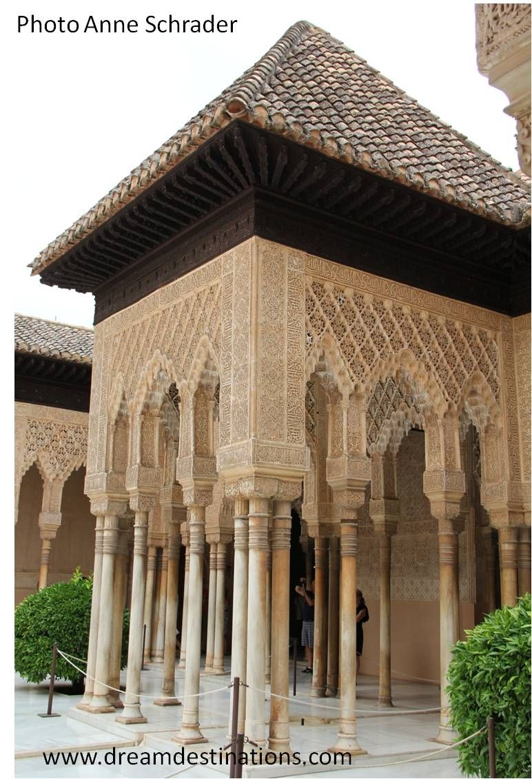 Courtyard of the Lions Nazaries Palace Alhambra Grenada Spain