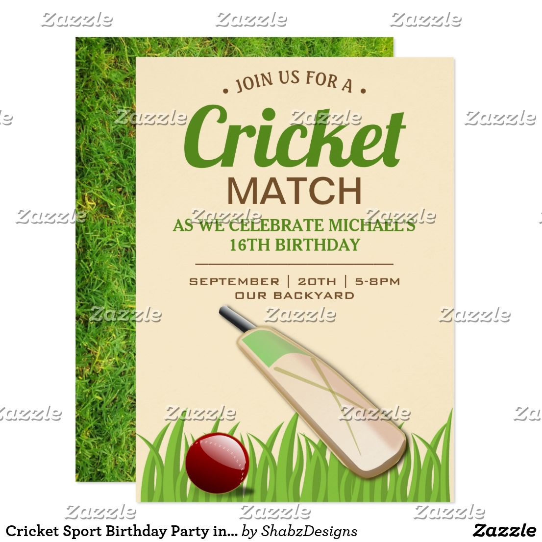 Cricket Sport Birthday Party invitation
