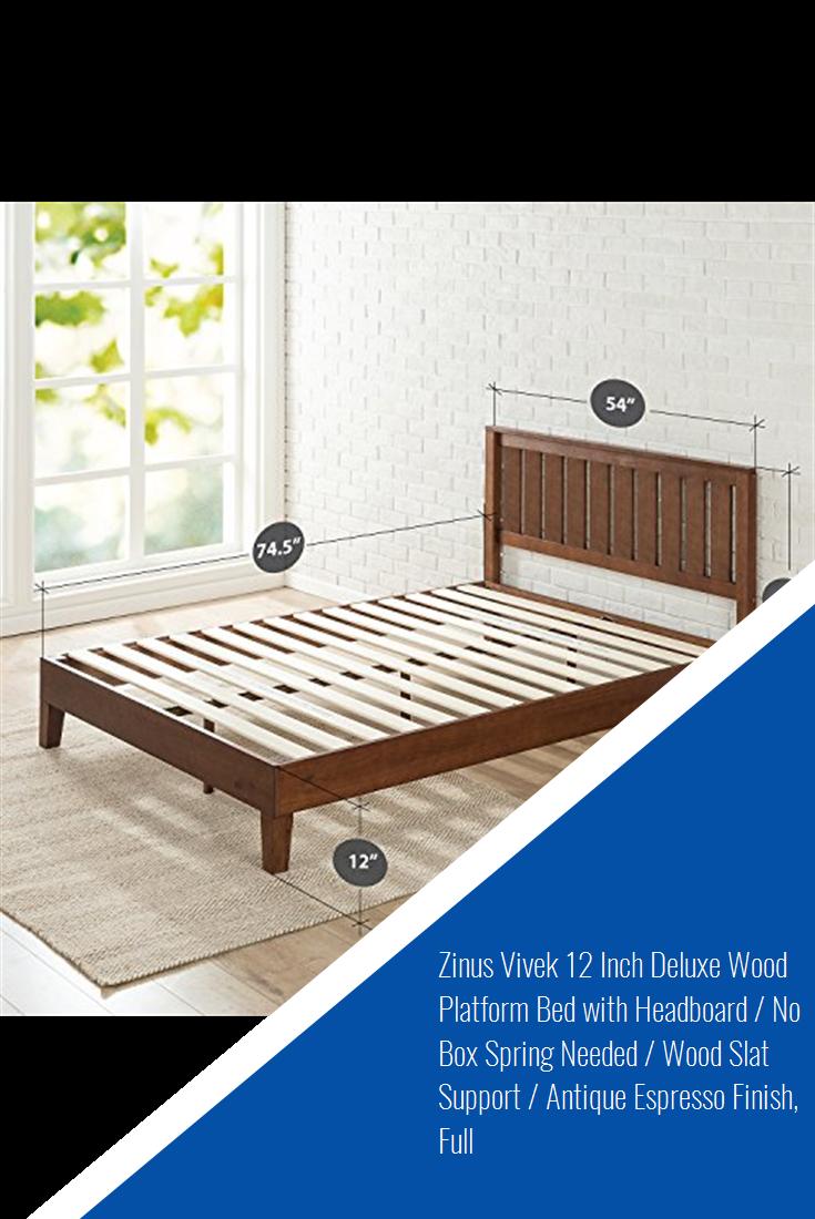 Zinus Vivek 12 Inch Deluxe Wood Platform Bed With Headboard No