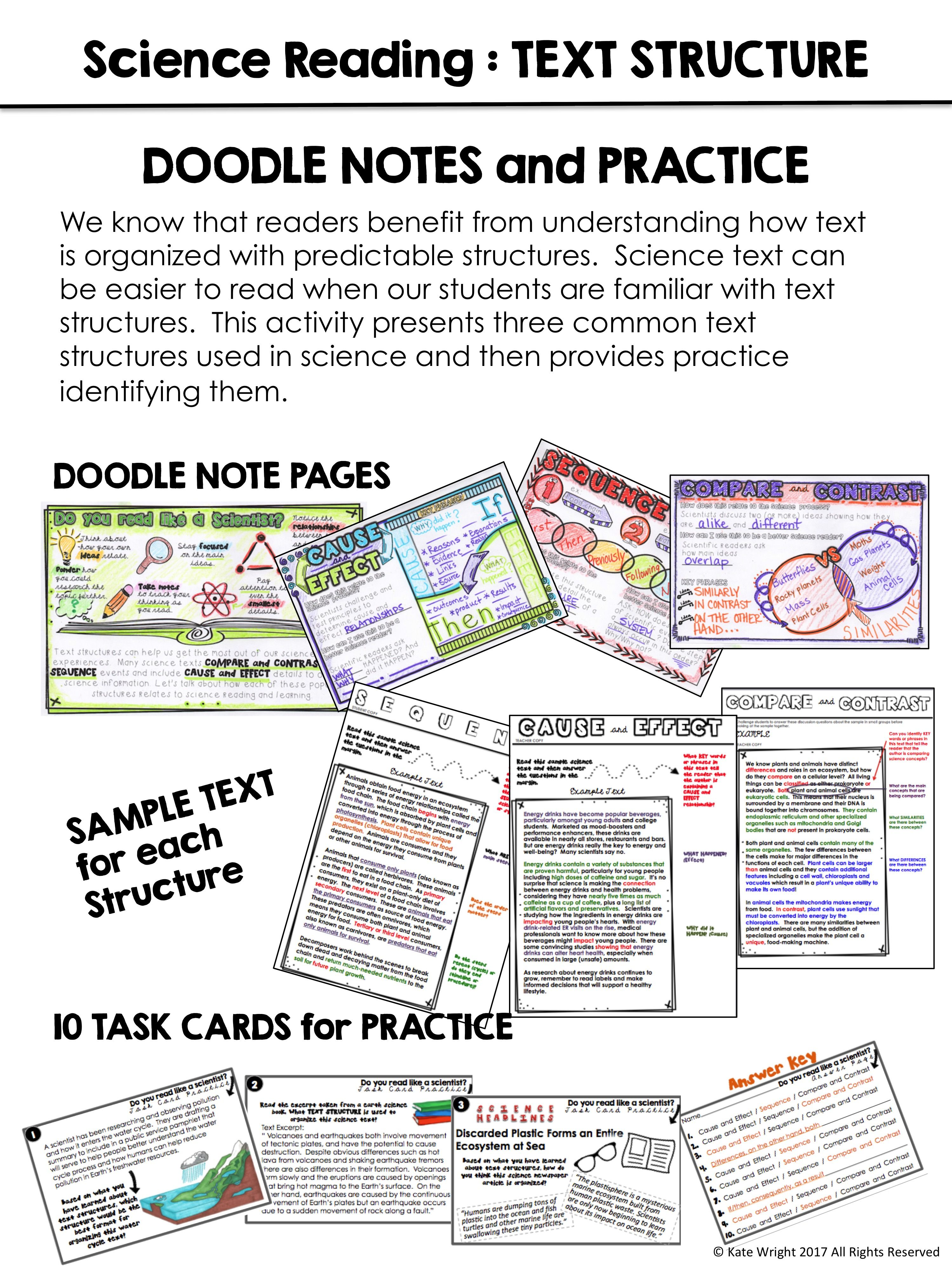 Reading Skills In Science Doodle Notes And Practice