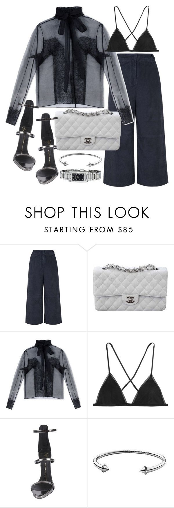 """""""Untitled #19222"""" by florencia95 ❤ liked on Polyvore featuring Topshop, Chanel, Rochas, Kiki de Montparnasse, Giuseppe Zanotti, Michael Kors and Burberry"""