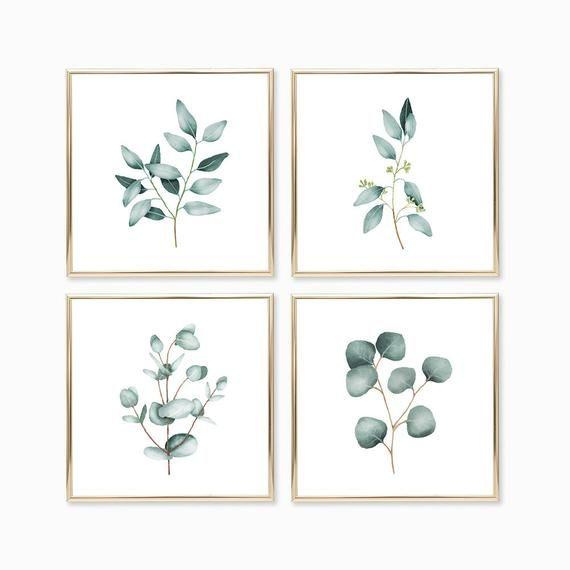 Photo of Eukalyptus Aquarell Druck 4er Set Instant Art SOFORTIGER DOWNLOAD Druckbare Wanddekoration