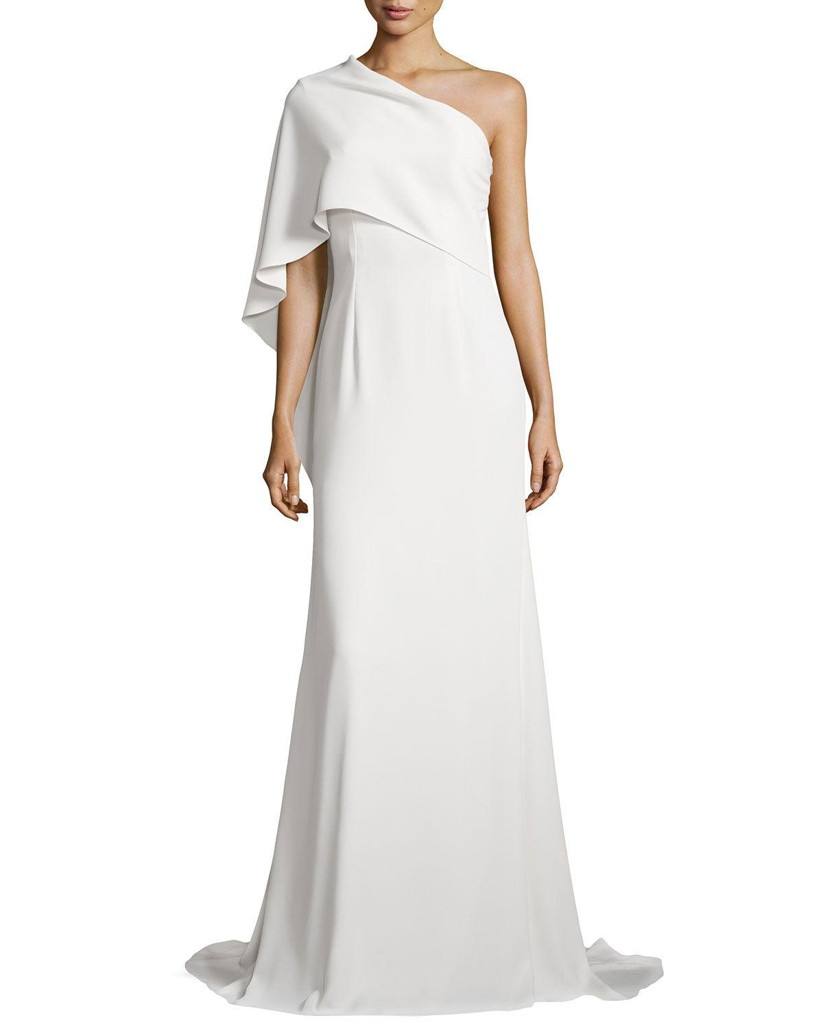 Carmen Marc Valvo One-Shoulder Cape Gown, Ivory | Gorgeous Gowns ...