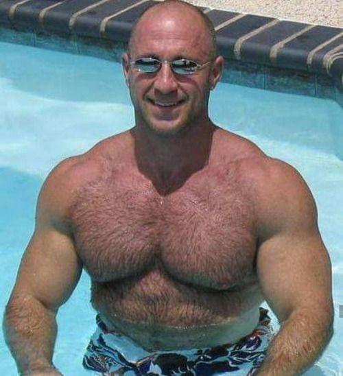 Hairy ebony mature and bald man