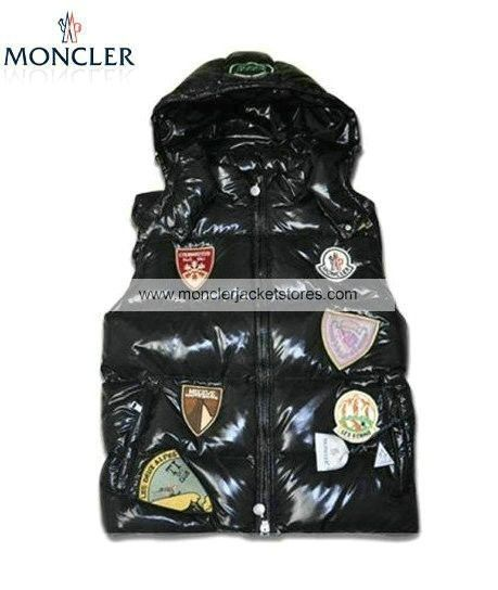 06d1f1f7c148 Cheap Moncler Multiple Logo Men Down Vest Hooded Black