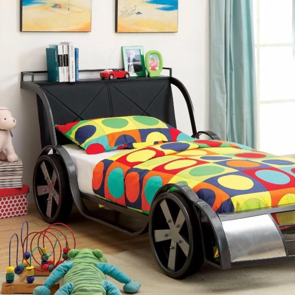 Gt Racer Metal Twin Size Bed, Silver And Black By Casagear