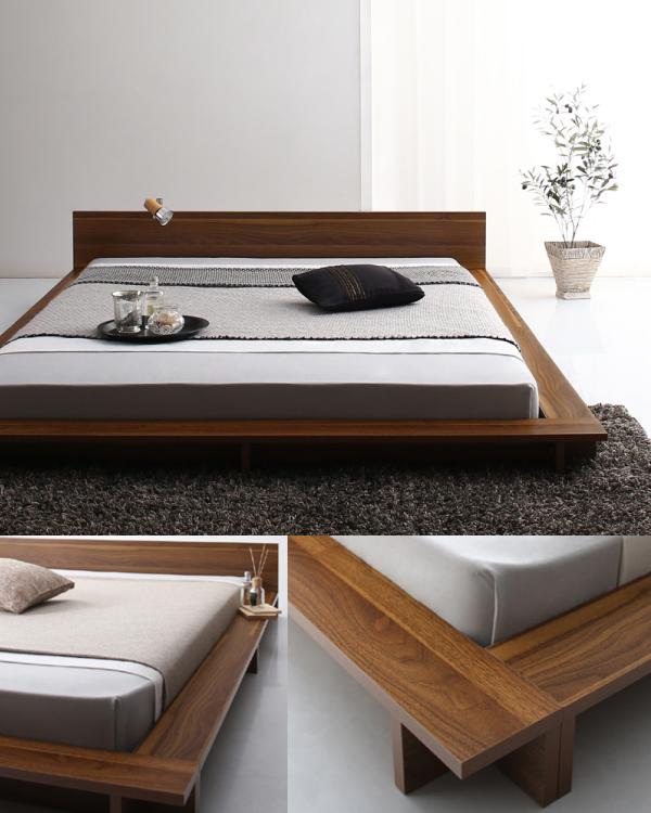 Gunther は圧迫感のないスタイリッシュなローベッドです ベッド 寝室 寝室インテリア 和モダンインテリア 大人インテリア 木目 ウォールナット ローベッド クイーンサイズ フラットヘッドボード ローベッド ベッド リビング インテリア